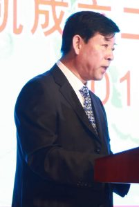 Above: Kingchem Liaoning Chemical Co. General Manager George Liu addresses the gathering in Fuxin. Mr. Liu spoke of Kingchem's well-educated and talented staff as the company's 'strategic reserve'