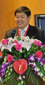 Above: Yuming Zhou, of the Shanghai Kinghcem LLC office, acted as the master of ceremonies for the Shanghai event.